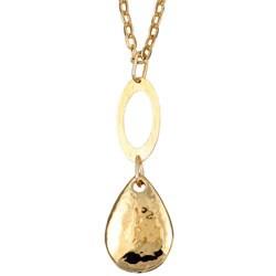 Elsa M 14k Gold Overlay Hammered Teardrop Necklace