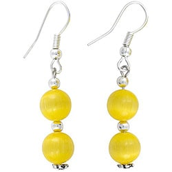 Silver Yellow Fusion Glass Earrings (Thailand)