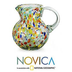 Blown Glass 'Confetti ' Pitcher (Mexico)