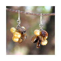 Silver Tiger's Eye Pearl 'Treasure' Earrings (Thailand)