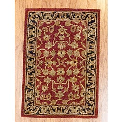 Indo Red/ Beige Wool Rug (2'1 x 3'1)