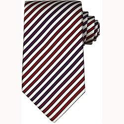 Gucci Men's White/ Red Diagonal Stripe Silk Tie