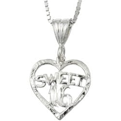 Sterling Essentials Sterling Silver 18-inch Sweet 16 Heart Necklace
