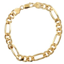 Sterling Essentials 14K Gold over Silver 8-inch Diamond-cut Figaro Chain Bracelet (7.5 mm)