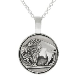 Journee Sterling Silver Buffalo Coin Necklace
