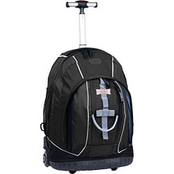 J World &#39;Twinkle&#39; Black/ Blue Rolling Backpack with Lightning Wheels
