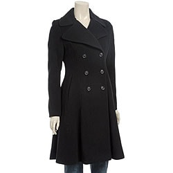 DKNY Wool-blend Double-breasted Fit and Flare Coat