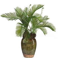 Cycas Silk Plant with Glazed Vase