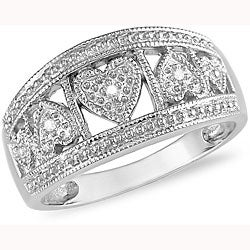 10k White Gold Diamond Hearts Ring