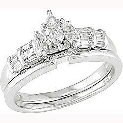 14k White Gold 1/2ct TDW Diamond Bridal Set (H-I, SI2)