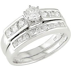 Miadora 14k White Gold 1ct TDW Diamond Bridal Set (H-J, I1)