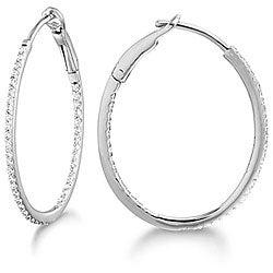 14k White Gold 1/3ct TDW Diamond Hoop Earrings (G-H, SI2)