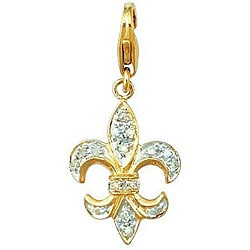 14k Gold 1/10ct TDW Diamond Fleur de Lis Charm