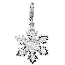 14k White Gold 1/10ct TDW Diamond Snowflake Charm