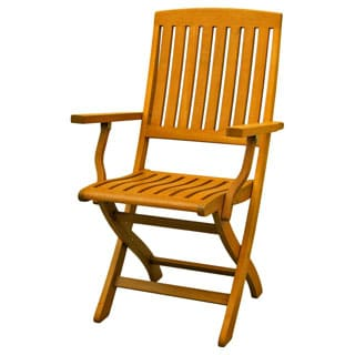 International Caravan Royal Tahiti Yellow Balau Wood Folding Arm Chair (Set of 2)