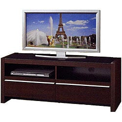 Walnut Finish Entertainment Unit with Drawers