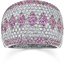 18k Gold 1 1/2ct TDW Diamond/ Pink Sapphire Ring (G, VS2) (Size 7.5)