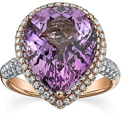 18k Gold Created Amethyst/ 1 1/5ct TDW Diamond Ring (F,SI) (Size 7.25)