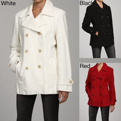AK Anne Klein Women's Short Double-breasted Peacoat