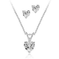 Icz Stonez Sterling Silver CZ Heart Solitaire Necklace/ Earring Set