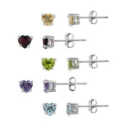 Glitzy Rocks Sterling Silver Multi-gemstone Heart Earring Studs (Set of 5)