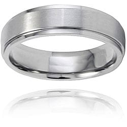 Men&#39;s Brushed-and-polished Titanium Ring with Comfort-fit Band