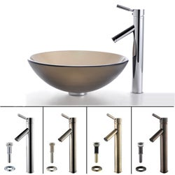 Kraus Frosted Glass Sink and Sheven Bathroom Faucet Set