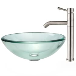 Kraus Clear Glass Sink and Aldo Bathroom Faucet