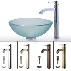 Kraus Frosted Glass Single-Handle Sink and Ramus Bathroom Faucet