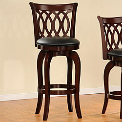 ETHAN HOME Verona Cherry Scroll-back Swivel 29-inch Barstool