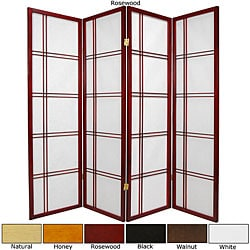 Spruce Wood 60-inch Double Cross 4-panel Room Divider (China)