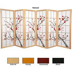 Spruce Wood Cherry Blossom Shoji 6-panel Room Divider (China)