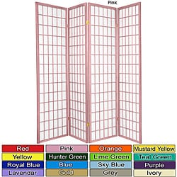Wood and Rice Paper 6-foot 4-panel Windowpane Room Divider (China)