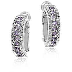Glitzy Rocks Sterling Silver Amethyst and Diamond Accent Semi-hoop Earrings