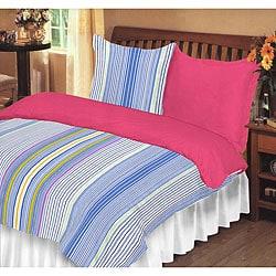 Dorm Room In A Box Striped/ Rose Twin XL 10-piece Set