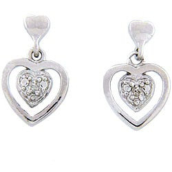 Sterling Silver Diamond Accent Heart Earrings