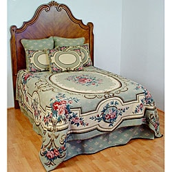 Aubusson King-size Sage Tapestry Coverlet Set with Skirt