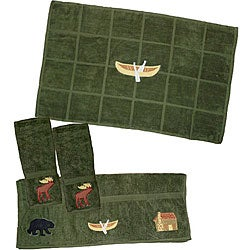 Dark Green 4-piece Northwoods Walk Towel Set