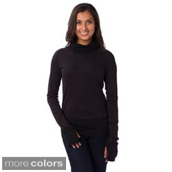 AtoZ Women's Rib Trim Turtleneck with Thumbholes