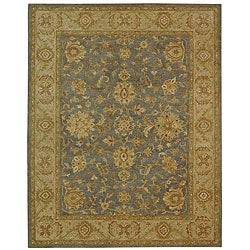 Handmade Antiquities Jewel Grey Blue/ Beige Wool Rug (12' x 18')