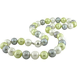 Miadora Sterling Silver Multicolor FW Pearl Necklace (9-10 mm)