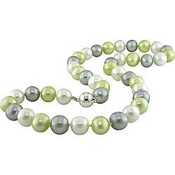 Miadora Sterling Silver Multicolor FW Pearl Necklace (9-10 mm)