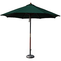 Hardwood 9-foot Hunter Green Patio Umbrella with Stand