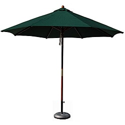 Hardwood 9-foot Hunter Green Patio Umbrella with Stand