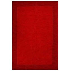 Hand-tufted Bordered Red Wool Rug (6&#39; x 9&#39;)