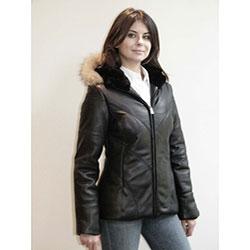 Izod Women's Plus Size New Zealand Lambskin Leather Puffer Jacket