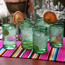 Set of 6 Highball 'Emerald Green' Glasses (Mexico)