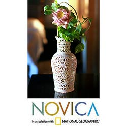 Soapstone 'Floral Honor' Vase (India)