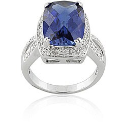 Silver Created Sapphire/ 1/10ct TDW Diamond Ring (I-J, I3)