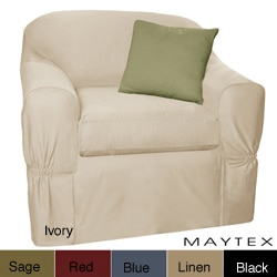 Maytex Piped Twill 2-piece Chair Slipcover